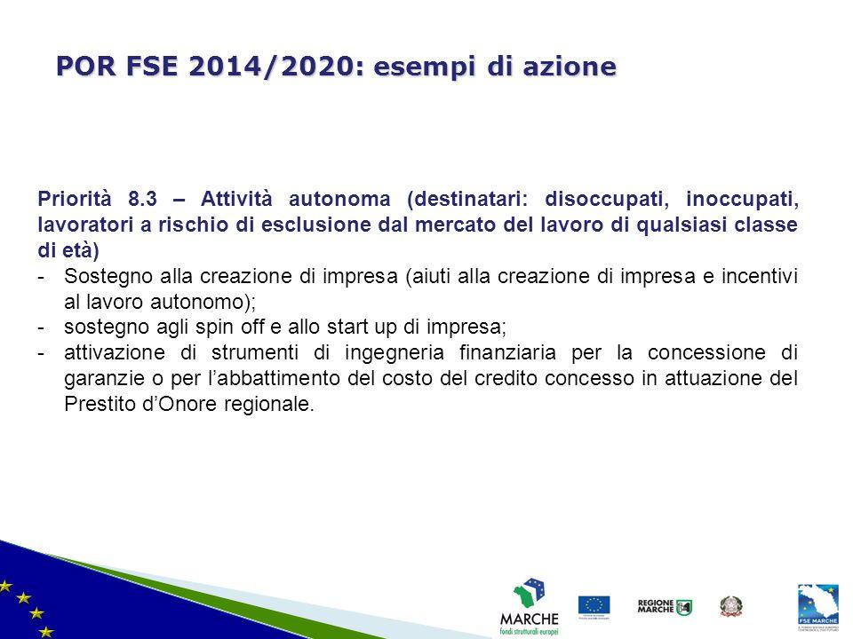 ma modifica del 08/11/2010 POR FSE 2014/2020: esempi di azione Priorità 8.3 – Attività autonoma (destinatari: disoccupati, inoccupati, lavoratori a ri