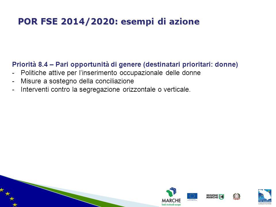 ma modifica del 08/11/2010 POR FSE 2014/2020: esempi di azione Priorità 8.4 – Pari opportunità di genere (destinatari prioritari: donne) -Politiche at