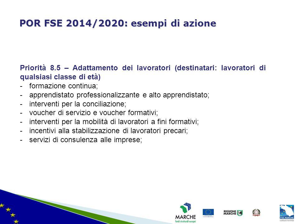 ma modifica del 08/11/2010 POR FSE 2014/2020: esempi di azione Priorità 8.5 – Adattamento dei lavoratori (destinatari: lavoratori di qualsiasi classe