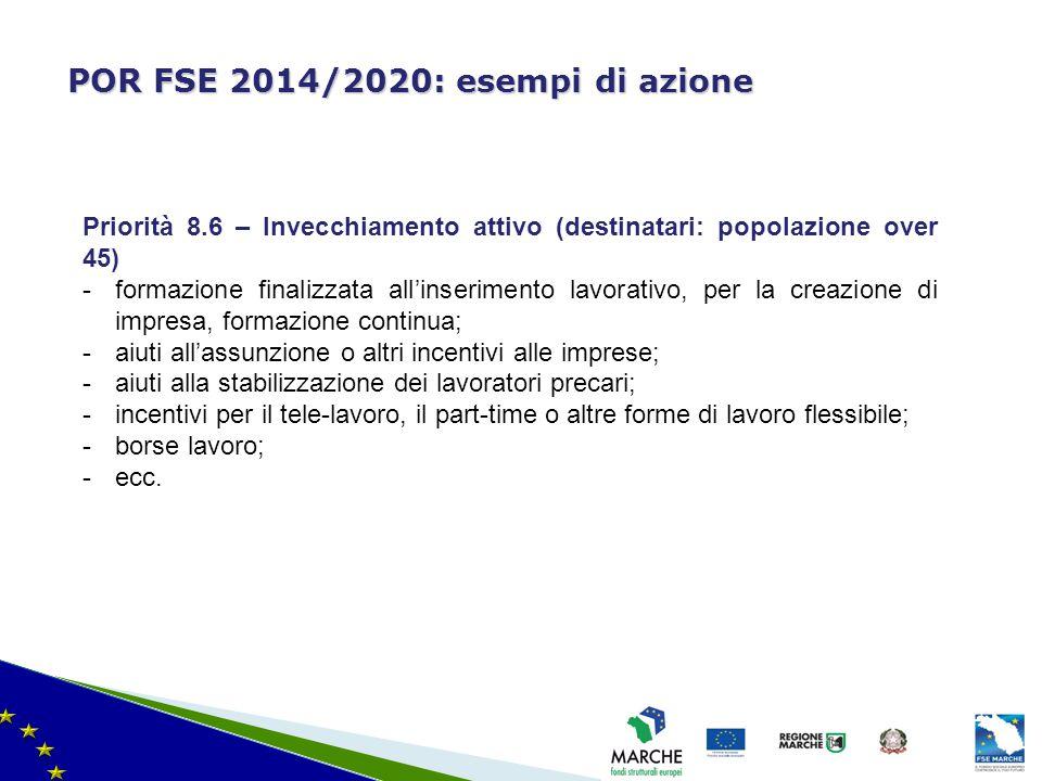 ma modifica del 08/11/2010 POR FSE 2014/2020: esempi di azione Priorità 8.6 – Invecchiamento attivo (destinatari: popolazione over 45) -formazione fin