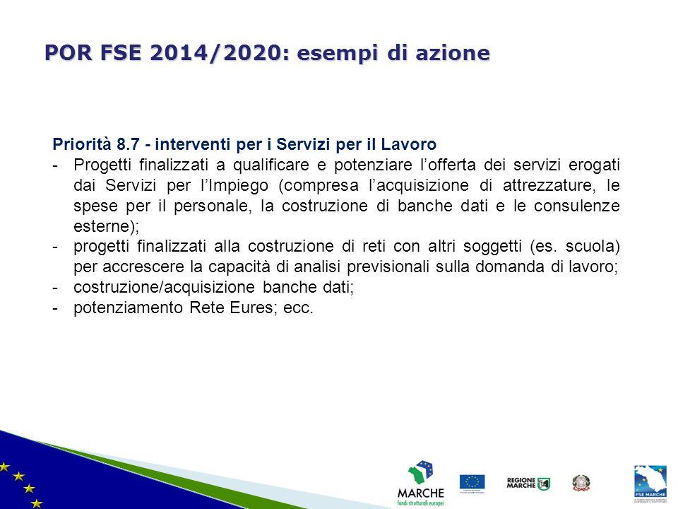 ma modifica del 08/11/2010 POR FSE 2014/2020: esempi di azione Priorità 8.7 - interventi per i Servizi per il Lavoro -Progetti finalizzati a qualifica