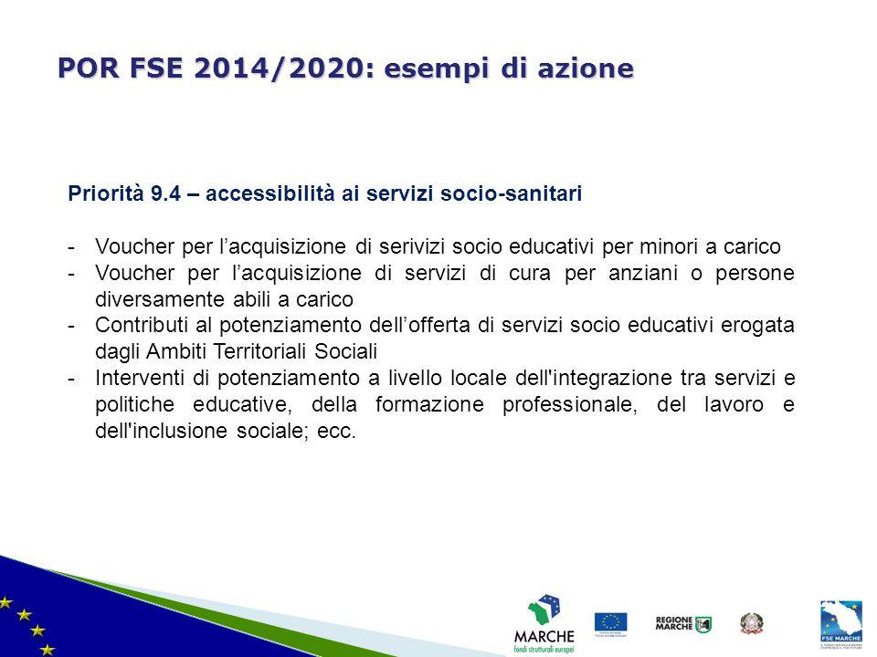 ma modifica del 08/11/2010 POR FSE 2014/2020: esempi di azione Priorità 9.4 – accessibilità ai servizi socio-sanitari -Voucher per l'acquisizione di s