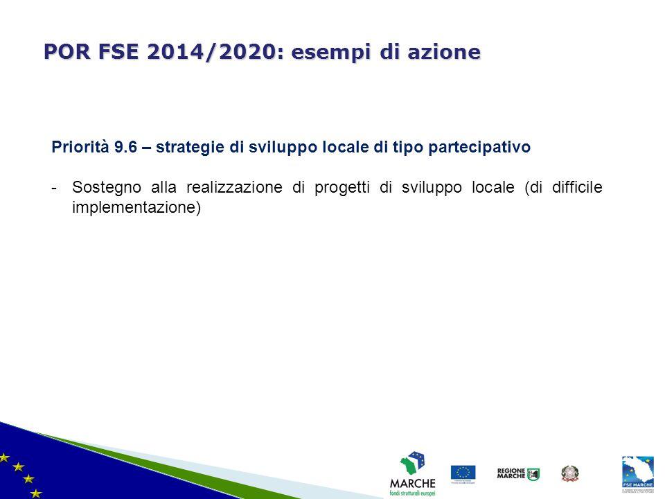 ma modifica del 08/11/2010 POR FSE 2014/2020: esempi di azione Priorità 9.6 – strategie di sviluppo locale di tipo partecipativo -Sostegno alla realiz