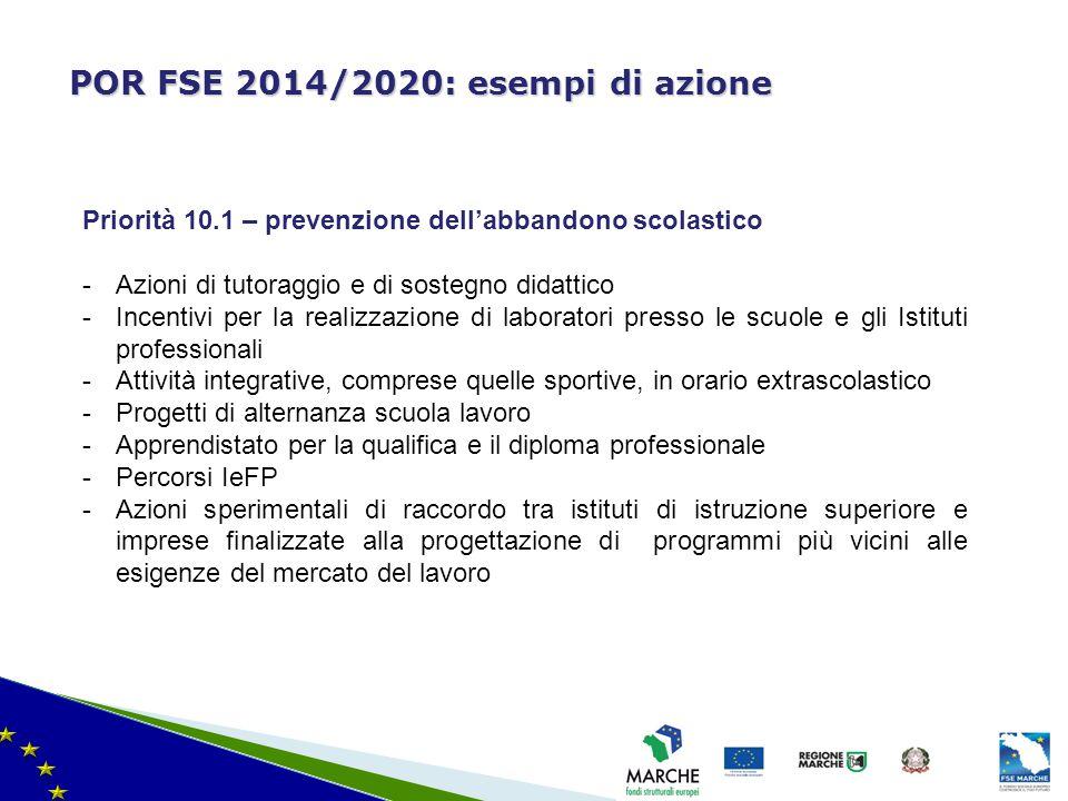 ma modifica del 08/11/2010 POR FSE 2014/2020: esempi di azione Priorità 10.1 – prevenzione dell'abbandono scolastico -Azioni di tutoraggio e di sosteg