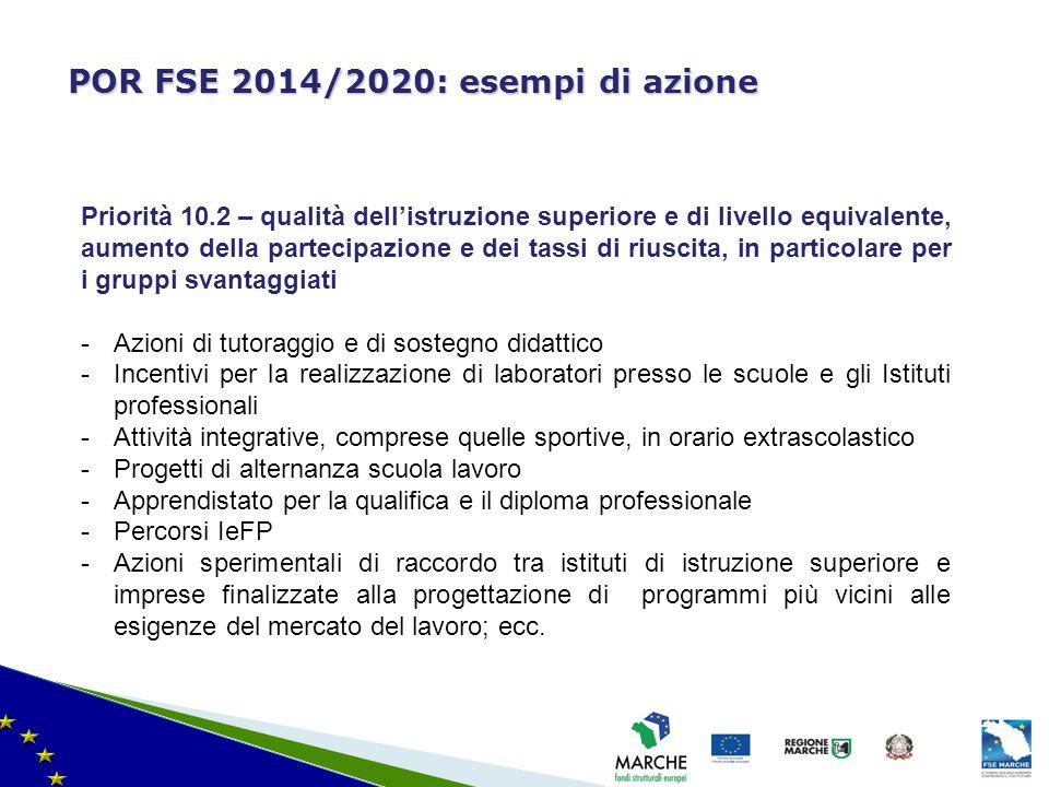 ma modifica del 08/11/2010 POR FSE 2014/2020: esempi di azione Priorità 10.2 – qualità dell'istruzione superiore e di livello equivalente, aumento del
