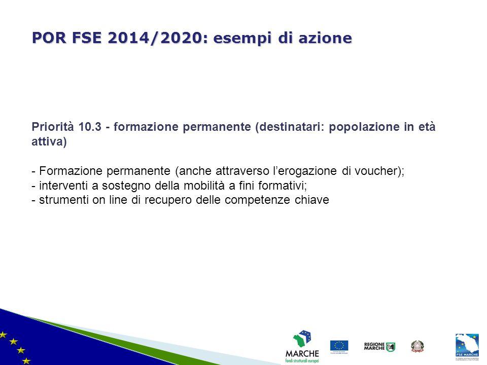 ma modifica del 08/11/2010 POR FSE 2014/2020: esempi di azione Priorità 10.3 - formazione permanente (destinatari: popolazione in età attiva) - Formaz