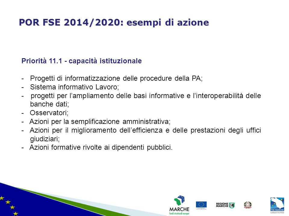 ma modifica del 08/11/2010 POR FSE 2014/2020: esempi di azione Priorità 11.1 - capacità istituzionale -Progetti di informatizzazione delle procedure d
