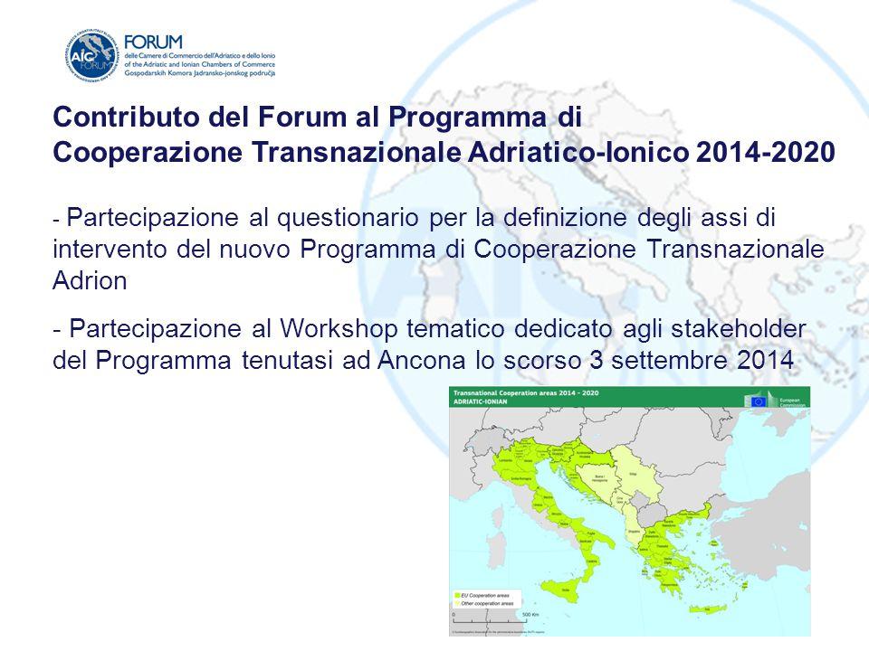 Contributo del Forum al Programma di Cooperazione Transnazionale Adriatico-Ionico 2014-2020 - Partecipazione al questionario per la definizione degli