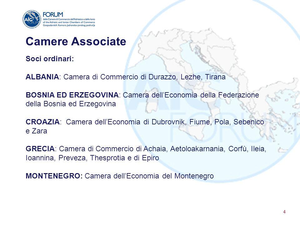 Camere Associate Soci ordinari: ALBANIA: Camera di Commercio di Durazzo, Lezhe, Tirana BOSNIA ED ERZEGOVINA: Camera dell'Economia della Federazione de