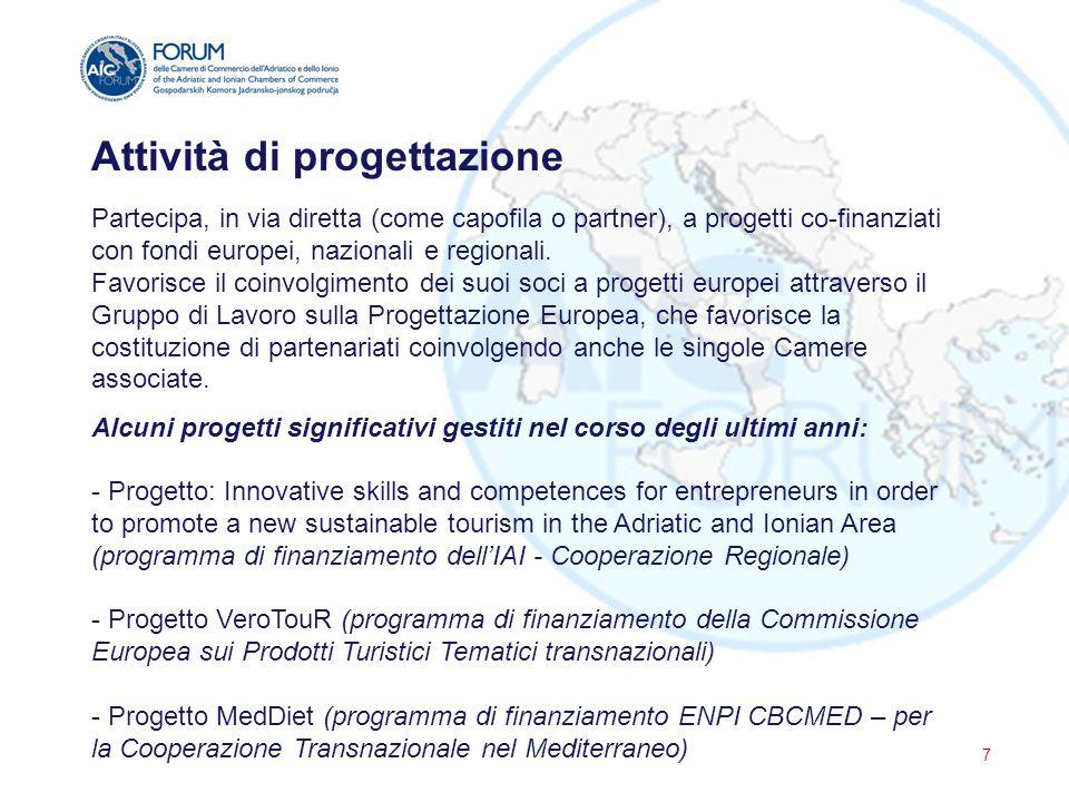 Attività di progettazione Partecipa, in via diretta (come capofila o partner), a progetti co-finanziati con fondi europei, nazionali e regionali. Favo