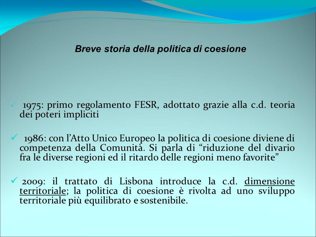 1975: primo regolamento FESR, adottato grazie alla c.d. teoria dei poteri impliciti 1986: con l'Atto Unico Europeo la politica di coesione diviene di