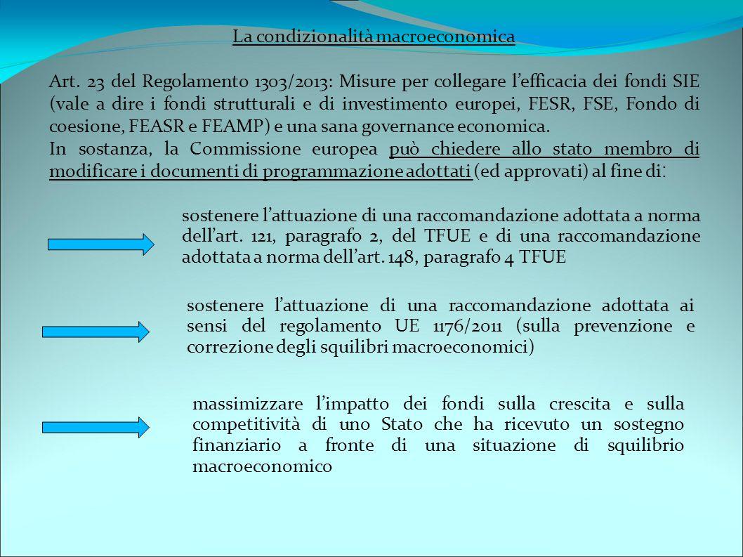 La condizionalità macroeconomica Art. 23 del Regolamento 1303/2013: Misure per collegare l'efficacia dei fondi SIE (vale a dire i fondi strutturali e
