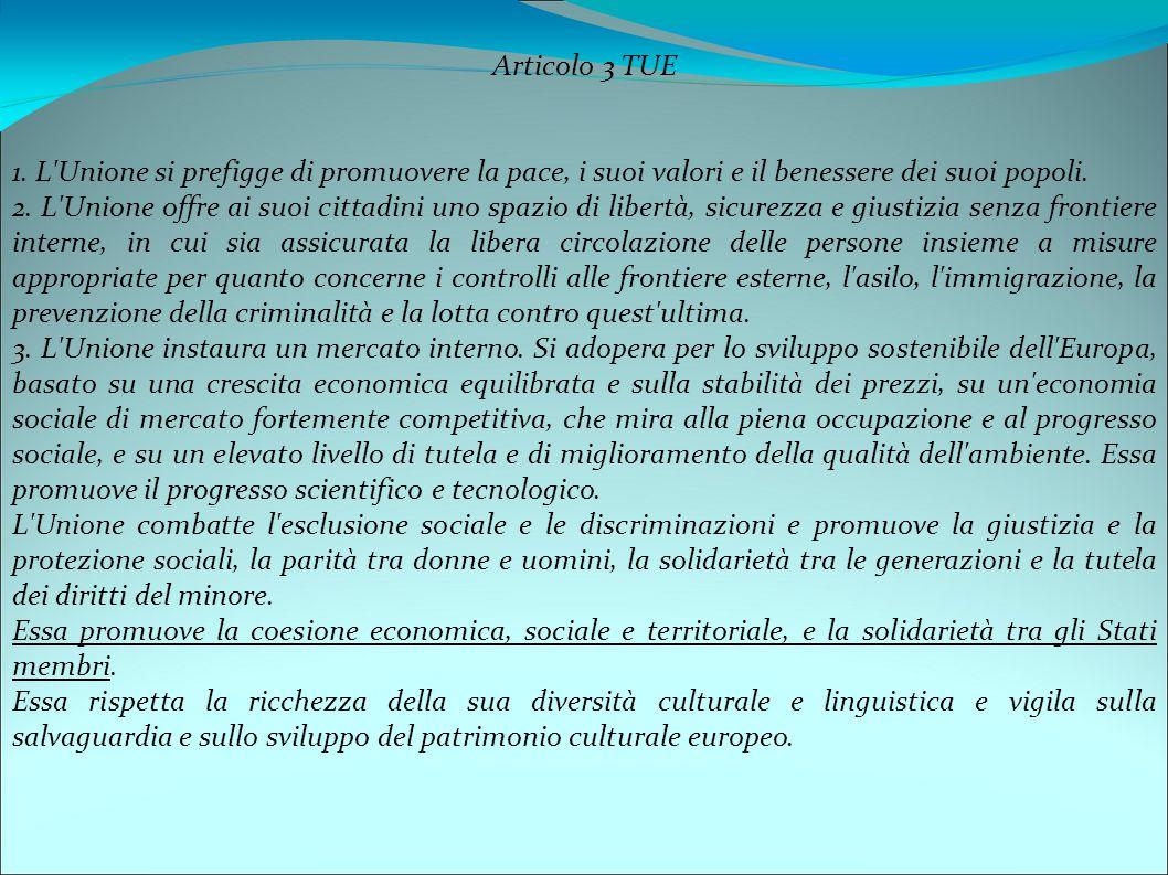 Articolo 3 TUE 1. L'Unione si prefigge di promuovere la pace, i suoi valori e il benessere dei suoi popoli. 2. L'Unione offre ai suoi cittadini uno sp