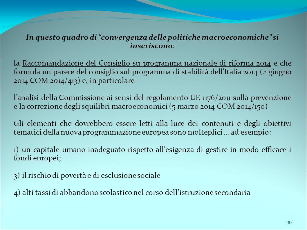 In questo quadro di convergenza delle politiche macroeconomiche si inseriscono: la Raccomandazione del Consiglio su programma nazionale di riforma 2014 e che formula un parere del consiglio sul programma di stabilità dell'Italia 2014 (2 giugno 2014 COM 2014/413) e, in particolare l'analisi della Commissione ai sensi del regolamento UE 1176/2011 sulla prevenzione e la correzione degli squilibri macroeconomici (5 marzo 2014 COM 2014/150) Gli elementi che dovrebbero essere letti alla luce dei contenuti e degli obiettivi tematici della nuova programmazione europea sono molteplici … ad esempio: 1) un capitale umano inadeguato rispetto all esigenza di gestire in modo efficace i fondi europei; 3) il rischio di povertà e di esclusione sociale 4) alti tassi di abbandono scolastico nel corso dell'istruzione secondaria 30