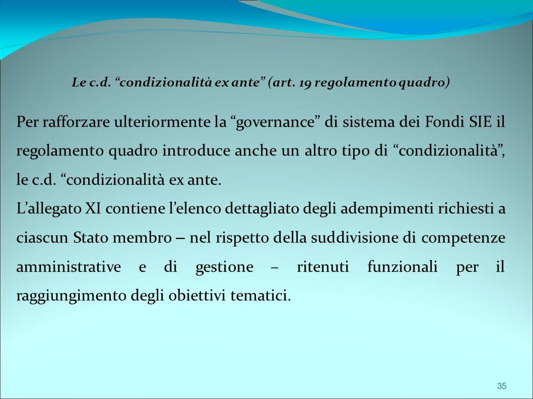 """Le c.d. """"condizionalità ex ante"""" (art. 19 regolamento quadro) Per rafforzare ulteriormente la """"governance"""" di sistema dei Fondi SIE il regolamento qua"""