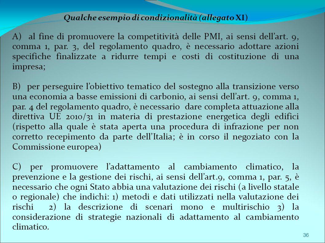 36 Qualche esempio di condizionalità (allegato XI) A) al fine di promuovere la competitività delle PMI, ai sensi dell'art. 9, comma 1, par. 3, del reg