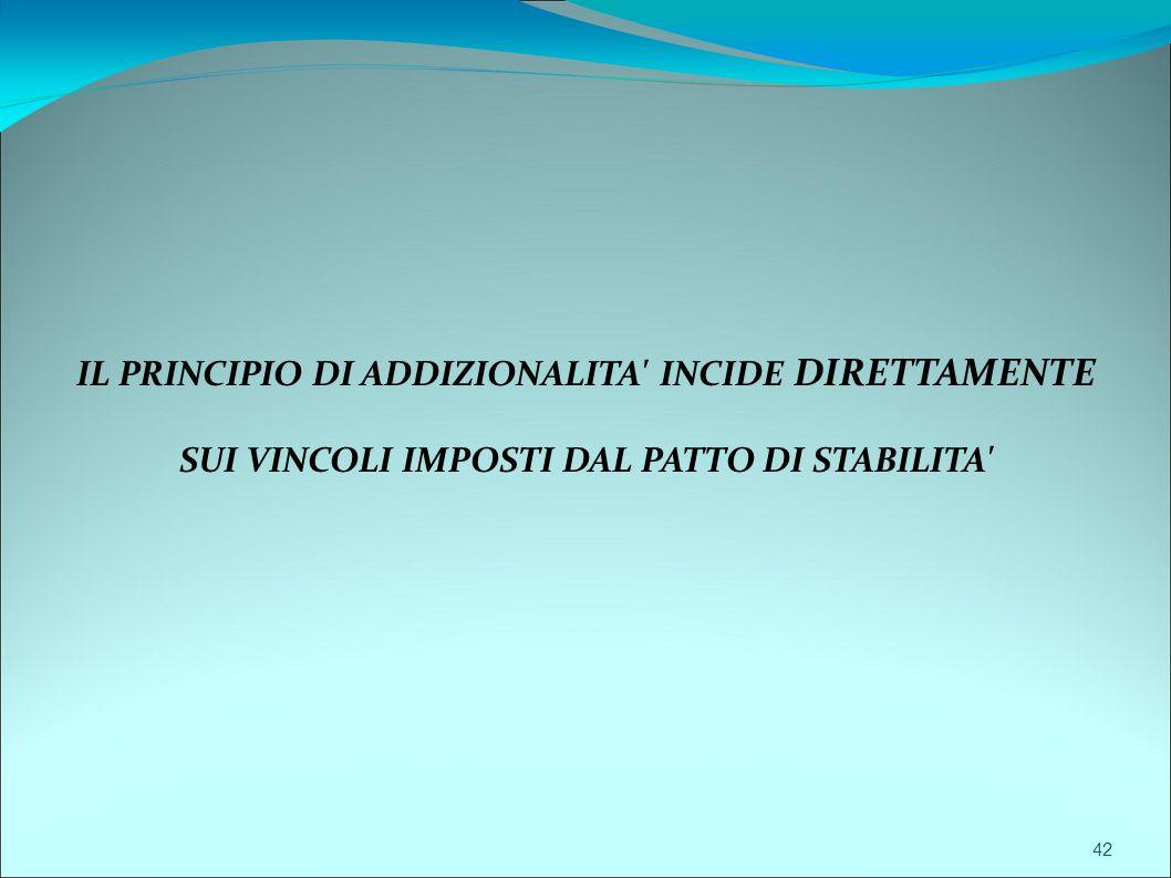 42 IL PRINCIPIO DI ADDIZIONALITA' INCIDE DIRETTAMENTE SUI VINCOLI IMPOSTI DAL PATTO DI STABILITA'