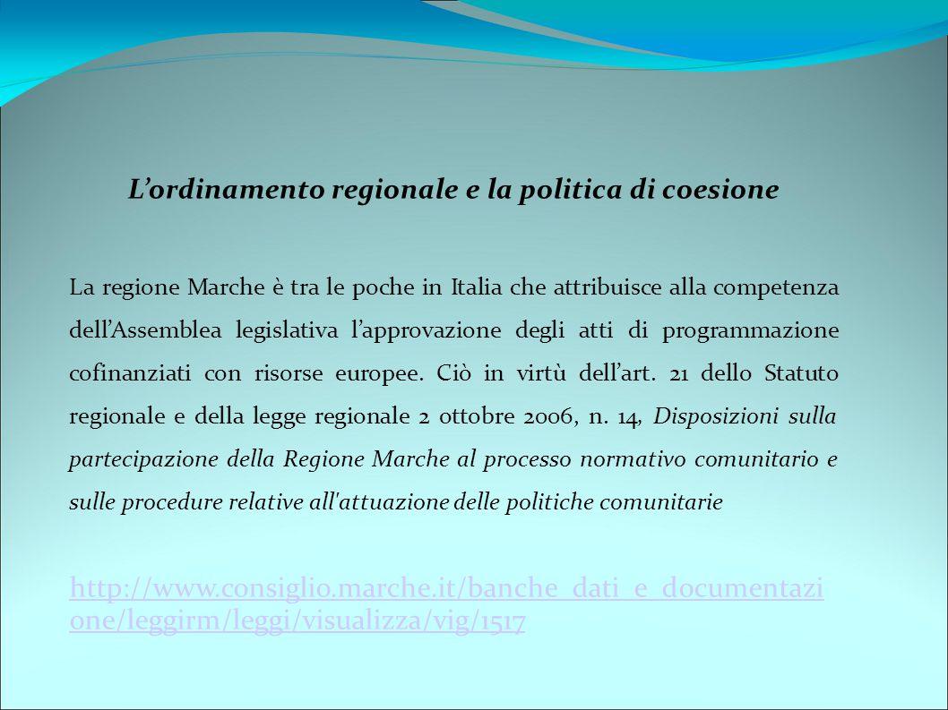 L'ordinamento regionale e la politica di coesione La regione Marche è tra le poche in Italia che attribuisce alla competenza dell'Assemblea legislativa l'approvazione degli atti di programmazione cofinanziati con risorse europee.