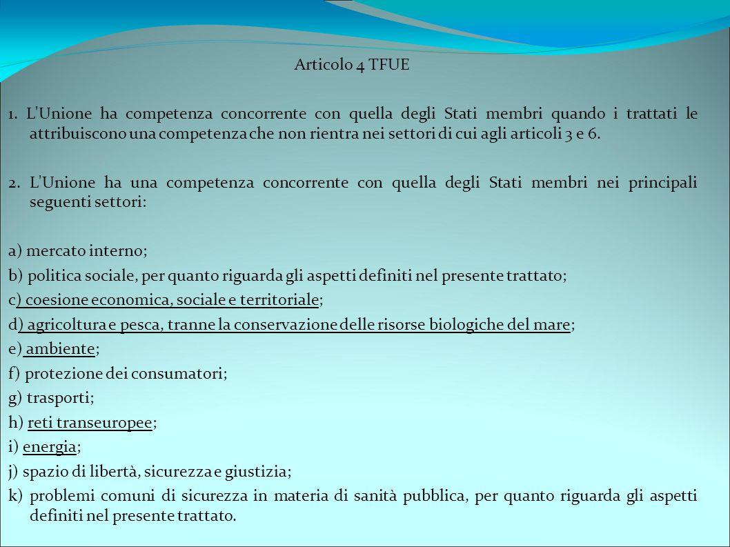 Articolo 4 TFUE 1. L'Unione ha competenza concorrente con quella degli Stati membri quando i trattati le attribuiscono una competenza che non rientra