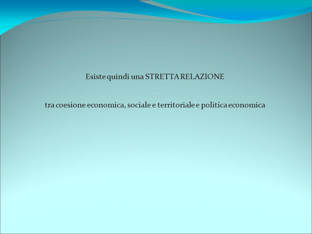 Esiste quindi una STRETTA RELAZIONE tra coesione economica, sociale e territoriale e politica economica