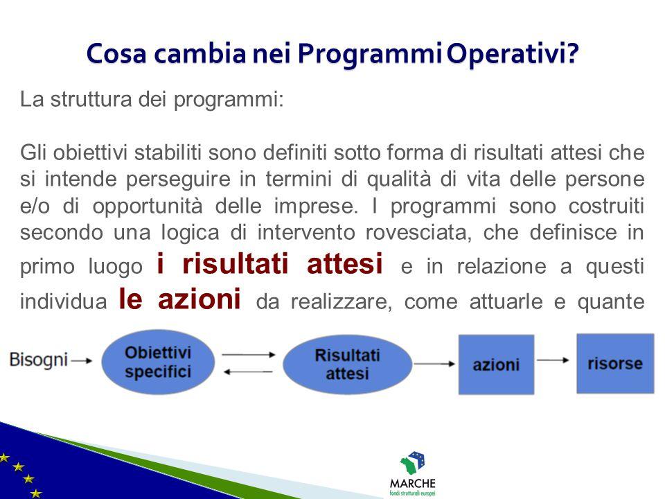 Cosa cambia nei Programmi Operativi? La struttura dei programmi: Gli obiettivi stabiliti sono definiti sotto forma di risultati attesi che si intende