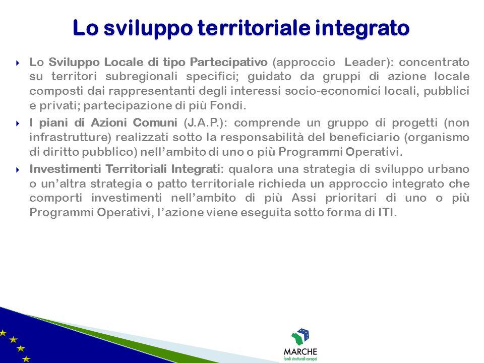  Lo Sviluppo Locale di tipo Partecipativo (approccio Leader): concentrato su territori subregionali specifici; guidato da gruppi di azione locale com