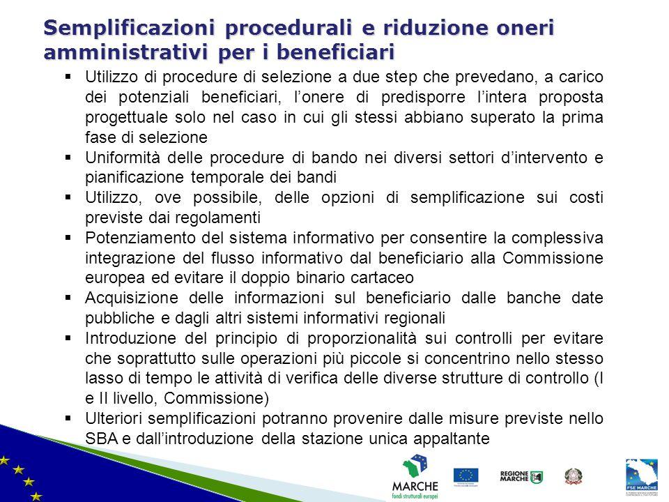 ma modifica del 08/11/2010 Semplificazioni procedurali e riduzione oneri amministrativi per i beneficiari  Utilizzo di procedure di selezione a due s