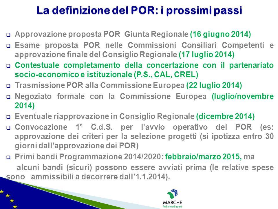  Approvazione proposta POR Giunta Regionale (16 giugno 2014)  Esame proposta POR nelle Commissioni Consiliari Competenti e approvazione finale del C