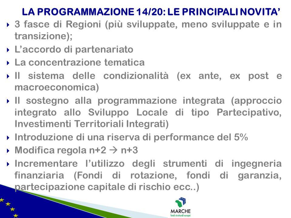  3 fasce di Regioni (più sviluppate, meno sviluppate e in transizione);  L'accordo di partenariato  La concentrazione tematica  Il sistema delle c