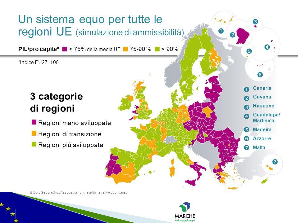 │ 5│ 5 Un sistema equo per tutte le regioni UE (simulazione di ammissibilità) 3 categorie di regioni < 75% della media UE PIL/pro capite* *indice EU27