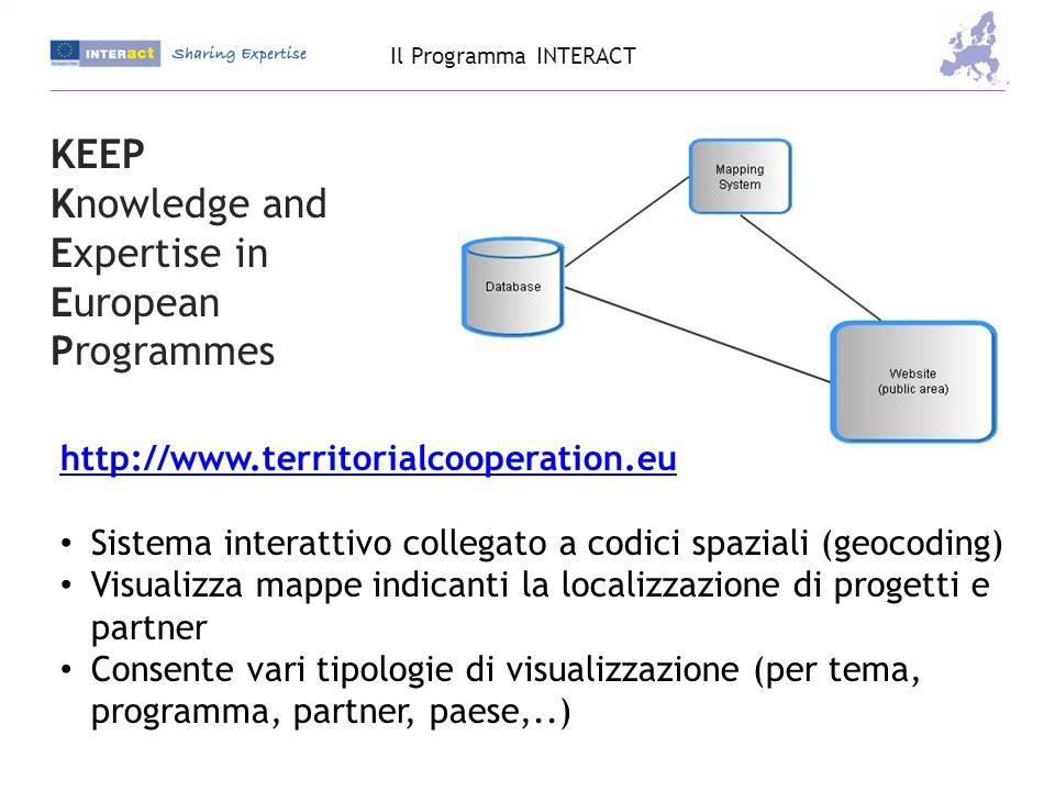 http://www.territorialcooperation.eu Sistema interattivo collegato a codici spaziali (geocoding) Visualizza mappe indicanti la localizzazione di progetti e partner Consente vari tipologie di visualizzazione (per tema, programma, partner, paese,..) KEEP Knowledge and Expertise in European Programmes