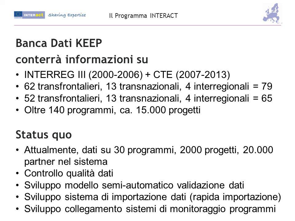 Banca Dati KEEP conterrà informazioni su INTERREG III (2000-2006) + CTE (2007-2013) 62 transfrontalieri, 13 transnazionali, 4 interregionali = 79 52 transfrontalieri, 13 transnazionali, 4 interregionali = 65 Oltre 140 programmi, ca.