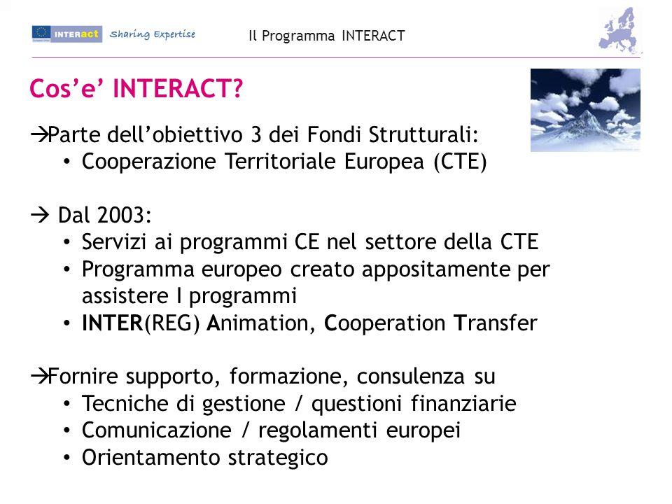 Obiettivi  Agire come una piattaforma per lo scambio di informazioni, esperienze e buone pratiche  Contribuire, con i propri servizi, a: Accrescere l'efficienza e l'efficacia dei Programmi Accrescere la qualità ed il know-how in materia di Cooperazione Territoriale Migliorare la capitalizzazione dei risultati ottenuti dalla Cooperazione Territoriale  Creare una comunità di attori attraverso l'Europa accomunati dalle stesse problematiche, domande e sfide.