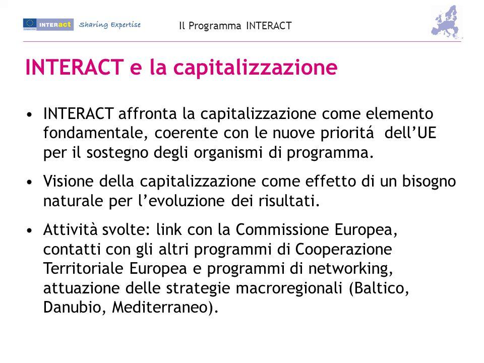 Temi: Pratiche di good governance Capitalizzazione delle precedenti esperienze INTERREG Pianificazione strategica di Programmi Gestione di Programmi Gestione finanziaria Gestione di progetti Supporto ai progetti Audit e controllo Monitoraggio e valutazione Comunicazione Il Programma INTERACT