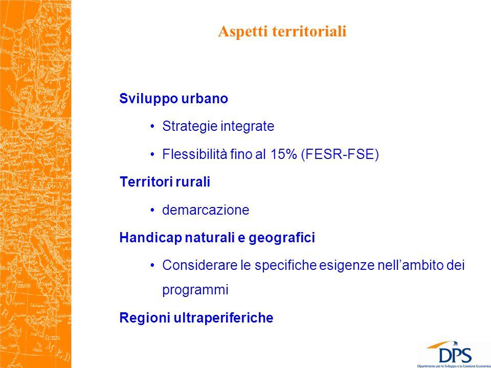 Aspetti territoriali Sviluppo urbano Strategie integrate Flessibilità fino al 15% (FESR-FSE) Territori rurali demarcazione Handicap naturali e geografici Considerare le specifiche esigenze nell'ambito dei programmi Regioni ultraperiferiche