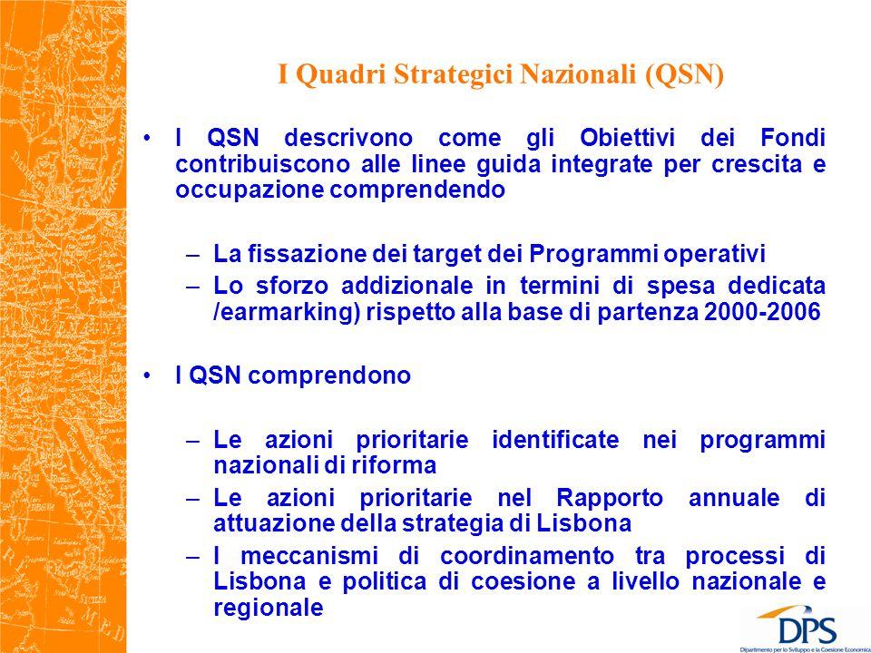 I Quadri Strategici Nazionali (QSN) I QSN descrivono come gli Obiettivi dei Fondi contribuiscono alle linee guida integrate per crescita e occupazione comprendendo –La fissazione dei target dei Programmi operativi –Lo sforzo addizionale in termini di spesa dedicata /earmarking) rispetto alla base di partenza 2000-2006 I QSN comprendono –Le azioni prioritarie identificate nei programmi nazionali di riforma –Le azioni prioritarie nel Rapporto annuale di attuazione della strategia di Lisbona –I meccanismi di coordinamento tra processi di Lisbona e politica di coesione a livello nazionale e regionale