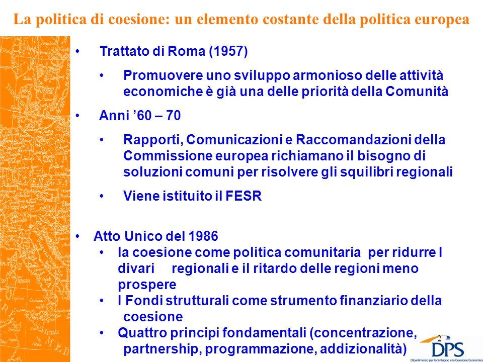 2 La politica di coesione: un elemento costante della politica europea Trattato di Roma (1957) Promuovere uno sviluppo armonioso delle attività economiche è già una delle priorità della Comunità Anni '60 – 70 Rapporti, Comunicazioni e Raccomandazioni della Commissione europea richiamano il bisogno di soluzioni comuni per risolvere gli squilibri regionali Viene istituito il FESR Atto Unico del 1986 la coesione come politica comunitaria per ridurre I divari regionali e il ritardo delle regioni meno prospere I Fondi strutturali come strumento finanziario della coesione Quattro principi fondamentali (concentrazione, partnership, programmazione, addizionalità)