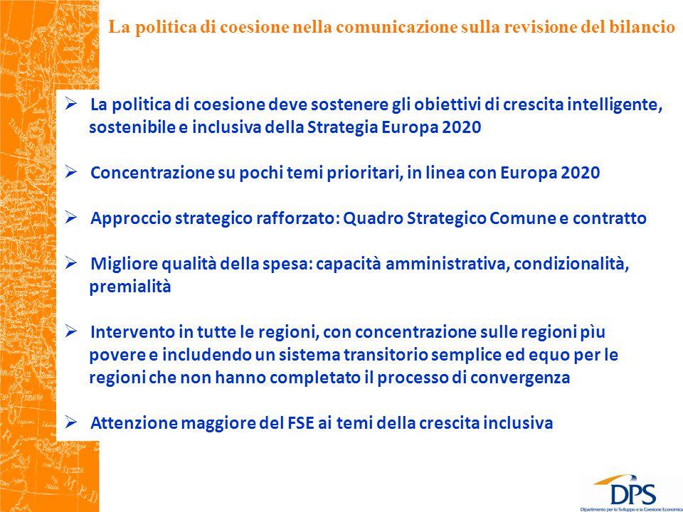 La politica di coesione nella comunicazione sulla revisione del bilancio  La politica di coesione deve sostenere gli obiettivi di crescita intelligente, sostenibile e inclusiva della Strategia Europa 2020  Concentrazione su pochi temi prioritari, in linea con Europa 2020  Approccio strategico rafforzato: Quadro Strategico Comune e contratto  Migliore qualità della spesa: capacità amministrativa, condizionalità, premialità  Intervento in tutte le regioni, con concentrazione sulle regioni pìu povere e includendo un sistema transitorio semplice ed equo per le regioni che non hanno completato il processo di convergenza  Attenzione maggiore del FSE ai temi della crescita inclusiva