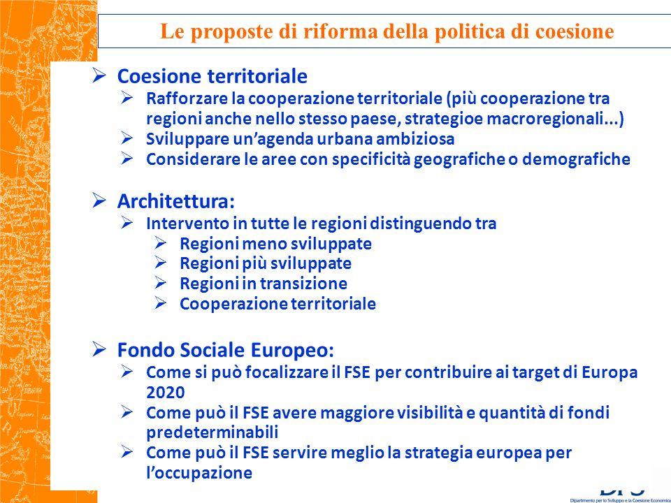 Le proposte di riforma della politica di coesione  Coesione territoriale  Rafforzare la cooperazione territoriale (più cooperazione tra regioni anche nello stesso paese, strategioe macroregionali...)  Sviluppare un'agenda urbana ambiziosa  Considerare le aree con specificità geografiche o demografiche  Architettura:  Intervento in tutte le regioni distinguendo tra  Regioni meno sviluppate  Regioni più sviluppate  Regioni in transizione  Cooperazione territoriale  Fondo Sociale Europeo:  Come si può focalizzare il FSE per contribuire ai target di Europa 2020  Come può il FSE avere maggiore visibilità e quantità di fondi predeterminabili  Come può il FSE servire meglio la strategia europea per l'occupazione