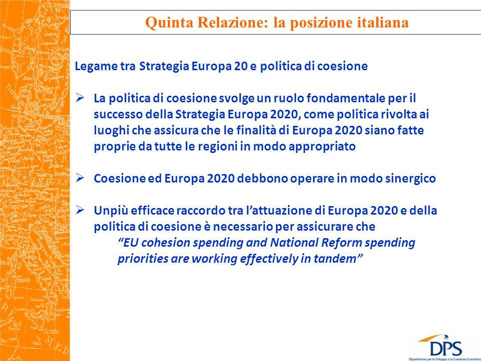 Quinta Relazione: la posizione italiana Legame tra Strategia Europa 20 e politica di coesione  La politica di coesione svolge un ruolo fondamentale per il successo della Strategia Europa 2020, come politica rivolta ai luoghi che assicura che le finalità di Europa 2020 siano fatte proprie da tutte le regioni in modo appropriato  Coesione ed Europa 2020 debbono operare in modo sinergico  Unpiù efficace raccordo tra l'attuazione di Europa 2020 e della politica di coesione è necessario per assicurare che EU cohesion spending and National Reform spending priorities are working effectively in tandem
