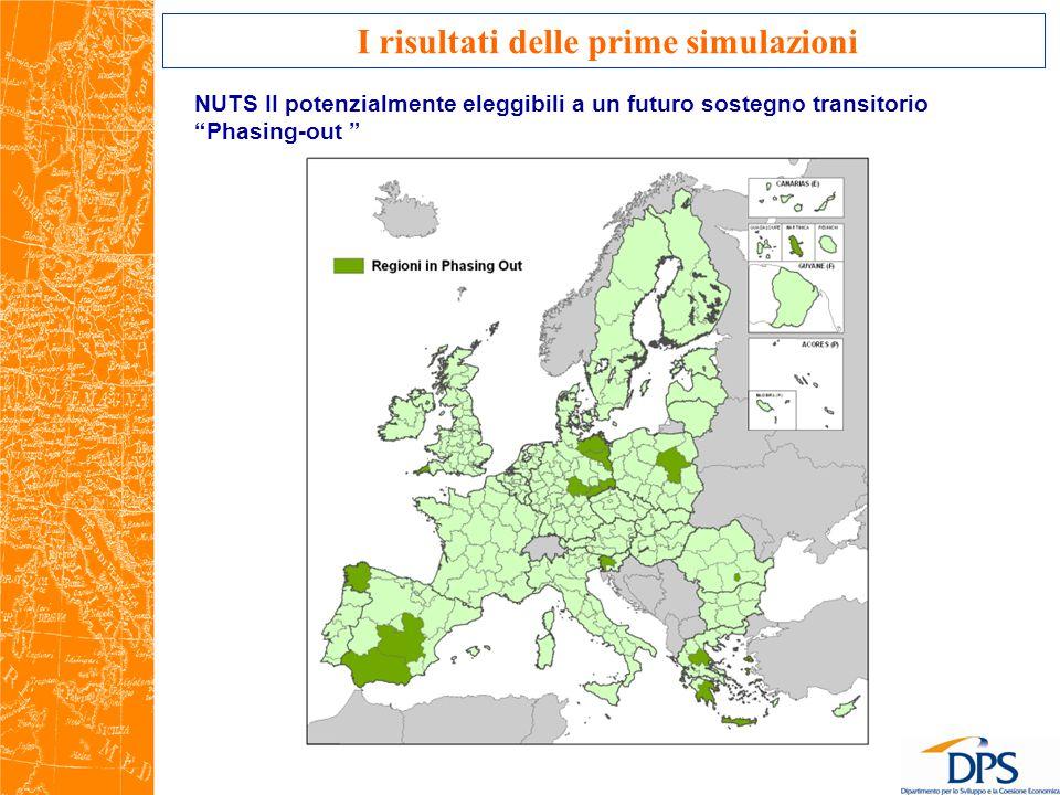 NUTS II potenzialmente eleggibili a un futuro sostegno transitorio Phasing-out I risultati delle prime simulazioni