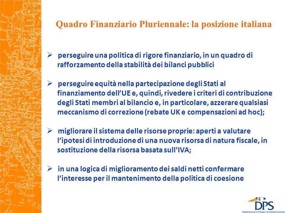 Quadro Finanziario Pluriennale: la posizione italiana 54  perseguire una politica di rigore finanziario, in un quadro di rafforzamento della stabilità dei bilanci pubblici  perseguire equità nella partecipazione degli Stati al finanziamento dell'UE e, quindi, rivedere i criteri di contribuzione degli Stati membri al bilancio e, in particolare, azzerare qualsiasi meccanismo di correzione (rebate UK e compensazioni ad hoc);  migliorare il sistema delle risorse proprie: aperti a valutare l'ipotesi di introduzione di una nuova risorsa di natura fiscale, in sostituzione della risorsa basata sull'IVA;  in una logica di miglioramento dei saldi netti confermare l'interesse per il mantenimento della politica di coesione
