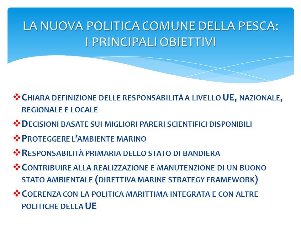 LA NUOVA POLITICA COMUNE DELLA PESCA: I PRINCIPALI OBIETTIVI  C HIARA DEFINIZIONE DELLE RESPONSABILITÀ A LIVELLO UE, NAZIONALE, REGIONALE E LOCALE 