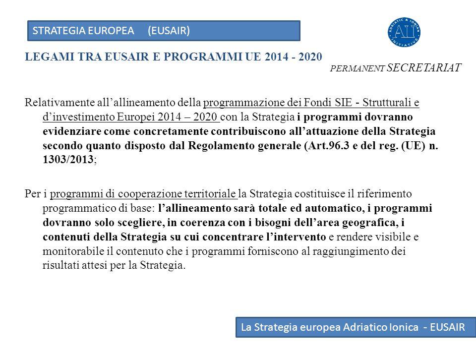 STRATEGIA EUROPEA (EUSAIR) La Strategia europea Adriatico Ionica - EUSAIR LEGAMI TRA EUSAIR E PROGRAMMI UE 2014 - 2020 PERMANENT SECRETARIAT Relativam