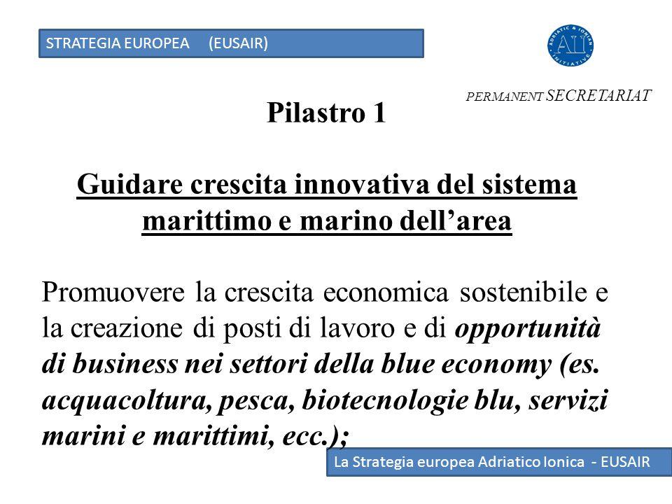 STRATEGIA EUROPEA (EUSAIR) La Strategia europea Adriatico Ionica - EUSAIR Pilastro 1 Guidare crescita innovativa del sistema marittimo e marino dell'a