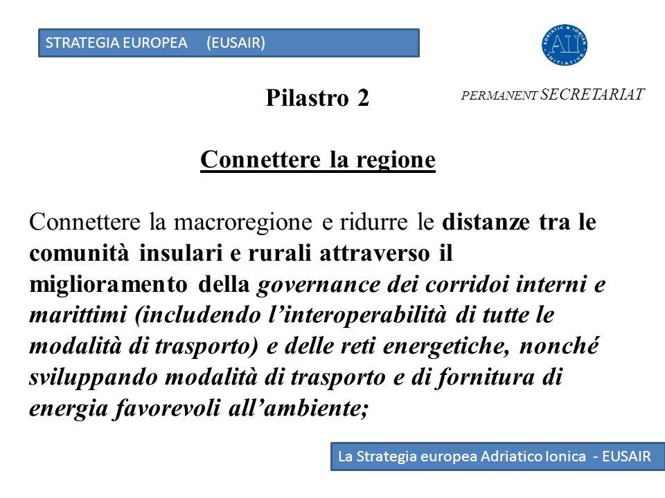 STRATEGIA EUROPEA (EUSAIR) La Strategia europea Adriatico Ionica - EUSAIR Pilastro 2 Connettere la regione Connettere la macroregione e ridurre le dis