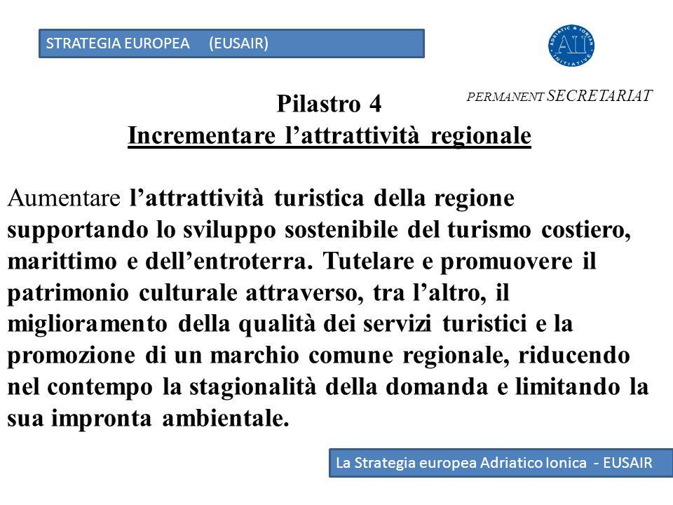STRATEGIA EUROPEA (EUSAIR) La Strategia europea Adriatico Ionica - EUSAIR Pilastro 4 Incrementare l'attrattività regionale Aumentare l'attrattività tu