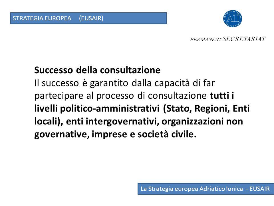 La Strategia europea Adriatico Ionica - EUSAIR STRATEGIA EUROPEA (EUSAIR) PERMANENT SECRETARIAT Successo della consultazione Il successo è garantito d
