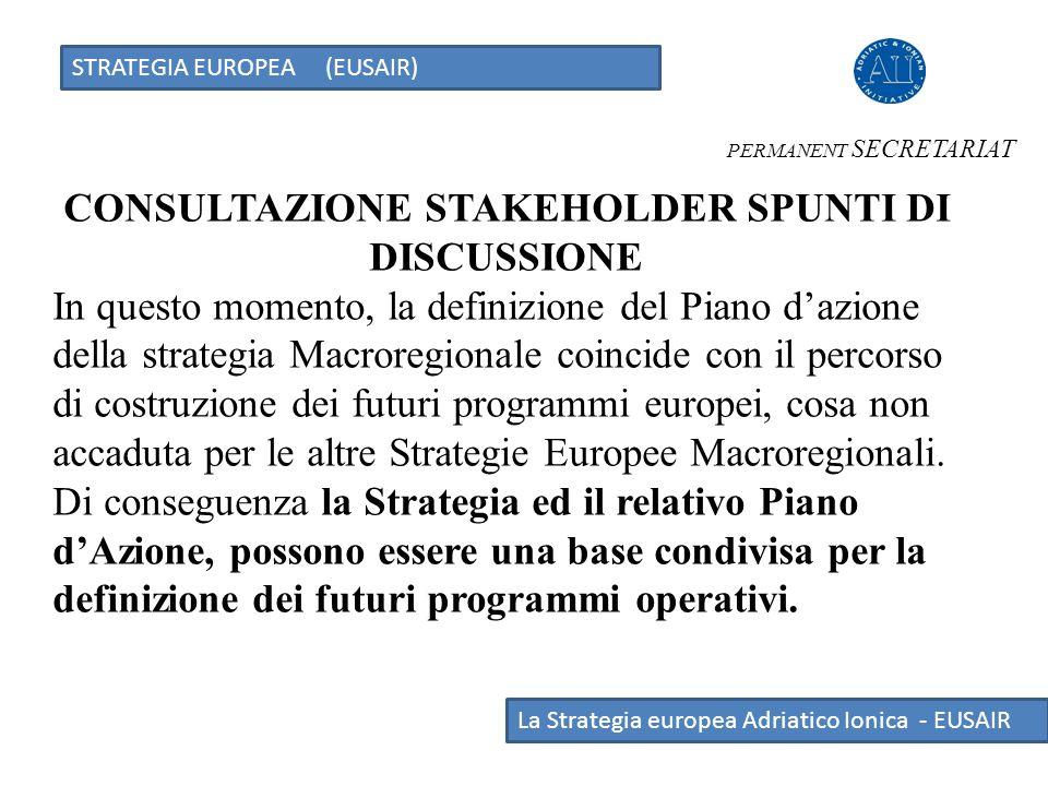 STRATEGIA EUROPEA (EUSAIR) La Strategia europea Adriatico Ionica - EUSAIR CONSULTAZIONE STAKEHOLDER SPUNTI DI DISCUSSIONE In questo momento, la defini