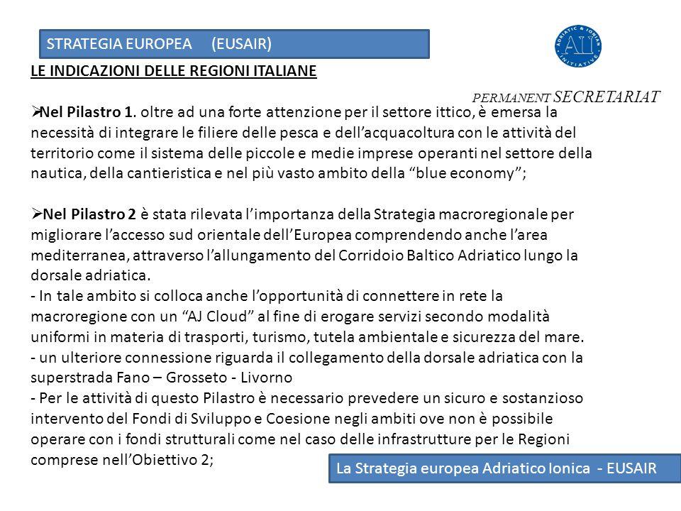 STRATEGIA EUROPEA (EUSAIR) La Strategia europea Adriatico Ionica - EUSAIR LE INDICAZIONI DELLE REGIONI ITALIANE  Nel Pilastro 1. oltre ad una forte a